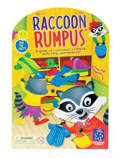Educational Insights Raccoon Rumpus Game - Join the party! Raccoons have raided your closet and now they're having a party. Help these masked bandits get dressed...the critter that collects the most costumes wins. Includes 4 raccoon cards, 20 costume cards, 1 jumbo color die, 1 jumbo costume die, and game guide. 2-4 players. Ages 3+ / Grades Pre-K+