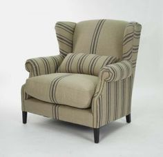 "A very comfortable looking ""wing back"" chair. Linen upholstery."