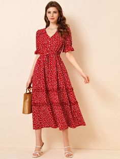 Cute Dresses, Beautiful Dresses, Casual Dresses, Fashion Dresses, Red Floral Dress, Red Midi Dress, Floral Flowers, Dressy Outfits, Modest Outfits