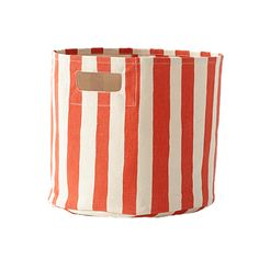 Stripe Storage Bin in Orange - perfect storage for the nursery or playroom. Great pop of color and comes in 8 colors!