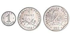 Série 1 centime, 1 franc et 2 francs 1993