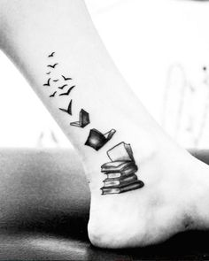 Books transforming into birds. #bookwormtattoos More