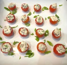 These addictive bite-sized appetizers will wow any tomato lover. Bacon Fries, Bite Size Appetizers, Sweet Cherries, Serving Platters, Cherry Tomatoes, Rolls, Kitchen, Recipes, Food