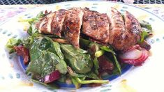 Balsamic Chicken Cutlet over Spinach Salad with Mushrooms, Bacon and Warm Shallot Dressing