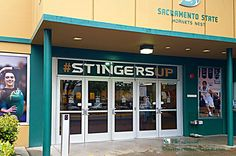 Stingers Doors. Sacramento State University doors to gym. Hornets are the teams' mascot.