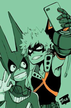 Izuku, Katsuki, selfie, funny, picture, photo, cellphone; My Hero Academia