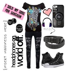 F*ck You by the-uninportant-emo on Polyvore featuring polyvore fashion style Converse Casetify Justin Bieber Tiffany & Co. Music Notes clothing black emo contestentry