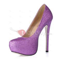 Elegant Purple PU Upper Stiletto Heels Closed-toes Platform Prom Shoes
