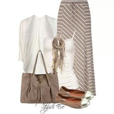 Beige striped skirt