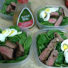 Low carb high protein lunch. 239 calories. 14F/3C/25P  1cup baby spinach  3oz steak  1 whole hard boiled egg 1 tbsp Italian dressing. ( store this on the side if your taking it to go)