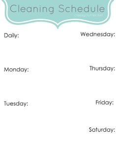 Weekly Cleaning Schedule Printable | www.classyclutter.net