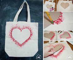 Urob si sama: Motív v tvare srdca na plátenej taške