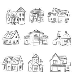 Drawing Tips house drawing Doodle Drawings, Easy Drawings, Doodle Art, Drawing Sketches, Sketching, House Doodle, Building Drawing, House Drawing, Drawing Lessons
