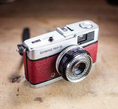Vintage Olympus Trip35 / Red Leather / LightBurn Film Camera / Street Camera