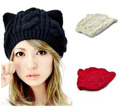 "New -  Winter Fashion - Woman's Cute Knit ""KITTY CAT EARS HAT"", Cap - 3 Colors #VASCRO #KnitHatCap"