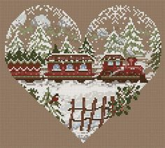 Cross-stitch Christmas Train.. no color chart available, just use pattern chart for your color guide