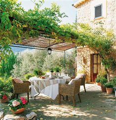 There are lots of pergola designs for you to choose from. First of all you have to decide where you are going to have your pergola and how much shade you want. Outdoor Rooms, Outdoor Dining, Outdoor Gardens, Outdoor Decor, Dining Area, Dining Room, Metal Pergola, Pergola Patio, Pergola Kits