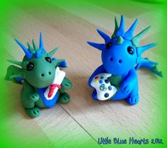 Polymer clay dragons - scroll and xbox controllers! Made for family!