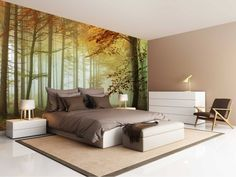 Mural Wald Sonnenuntergang - 2 Fall - Gewohnheit x Wall Clock Sticker, Wall Color Combination, House In Nature, Wallpaper Decor, Future House, Building A House, Living Spaces, Furniture Design, Sweet Home