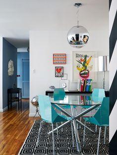 sala de jantar, madeira, branco, azul, vidro, inox, tapete, estampa, preto