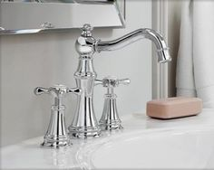 For the guest bath: the elegant design of the Euro-influenced Weymouth collection by Moen.