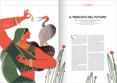 Jewels in India - Illustrations for Vioro Magazine Mar HernándeZ Magazine Illustration, Book Illustration, Editorial Layout, Editorial Design, Book Design, Page Design, Design Design, Mise En Page Magazine, Magazine Layout Design