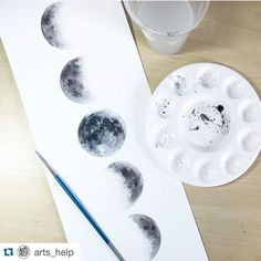 Last night was a full moon. People were driving crazy and my emotions were in full swing. with Moon Phases By _ Also check out our new art featuring page by soulpaintco Painting Inspiration, Art Inspo, Painting & Drawing, Watercolor Paintings, Watercolors, Moon Painting, Watercolor Moon, Watercolor Drawing, New Art