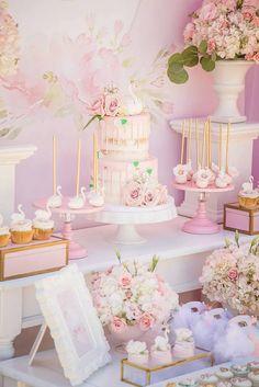 Swan sweet table detail from a Whimsical Swan Soiree on Kara's Party Ideas | KarasPartyIdeas.com (35)