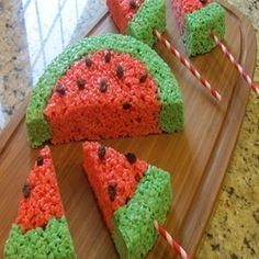 Watermelon Rice Krispies Treats - Scrumptious classic Rice Krispies treats shaped like watermelon. A SNAP to make & perfect for a Summer picnic!