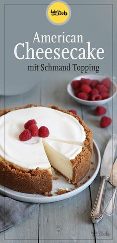 American Cheesecake mit Schmand Topping Bake to the roots Easy Cheesecake Recipes, Cake Mix Recipes, Easy Cookie Recipes, Banana Bread Recipes, Healthy Dessert Recipes, Health Desserts, Healthy Baking, Easy Desserts, Dessert Simple