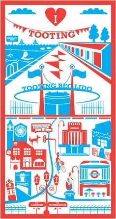 Red & Blue screen print of Tooting, South-West London by Ray Stanbrook Prints. London Illustration, Pattern Illustration, St Georges Hospital, Housewarming Card, South London, West London, Retro Advertising, Graphic Patterns, Graphic Design