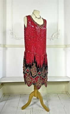 1920s Beaded and Sequin Flapper Dress by PenniesLondon on Etsy