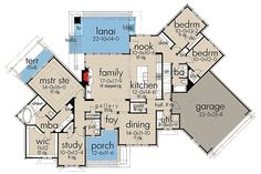 First Floor Plan image of contemporary new design Ranch House Plans, House Floor Plans, Plan Image, Br House, Story House, European Plan, Large Open Kitchens, Country Style House Plans, Ranch Style Homes