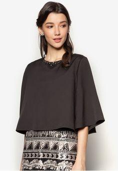 Embellished Wide Sleeve Swing Top from Zalia in black_1