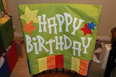 This is my inspiration for my birthday chair cover for my classroom. I'm thinking brighter colors with a bit of black.
