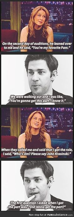 Jenna Fischer and John Krasinski on interviewing for the roles of Jim and Pam on The Office. The Office Show, Office Tv, Pam The Office, Office Cast, Jenna Fischer, Office Memes, Office Quotes, John Krasinski, This Is Your Life