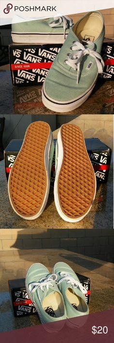 Mint green Vans deck shoes Mint green Vans deck shoes. Only worn for Vans Shoes Sneakers