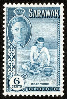 "Sarawak 1950 Scott 184 6c aquamarine ""Bead Work"""