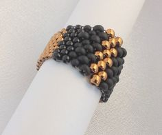 Peyote beaded ring in Black and Gold seed beads (005) - Magical beaded ring -  Bead woven ring