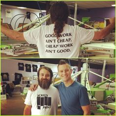 Good work ain't cheap cheap work ain't good! Love to see the quality #screenprinting Jim and the crew @goteamglitter are producing in Georgia! #poweringtheprint #roq