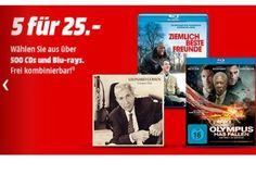 """Mediamarkt: Fünf Blu-rays oder CDs nach Wahl für 25 Euro https://www.discountfan.de/artikel/technik_und_haushalt/mediamarkt-fuenf-blu-rays-oder-cds-nach-wahl-fuer-25-euro.php Aus über 500 CDs und Blu-rays können sich Discountfans ab sofort bei Mediamarkt ihre Favoriten zusammenstellen – für fünf Titel zahlt man in Summe nur 25 Euro. Mediamarkt: Fünf Blu-rays oder CDs nach Wahl für 25 Euro (Bild: Mediamarkt.de) Die Aktion """"Fünf Blu-rays und CDs nach Wahl"""