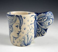 Blue and white porcelain cup with butterfly wing by PSPorcelain, $32.00