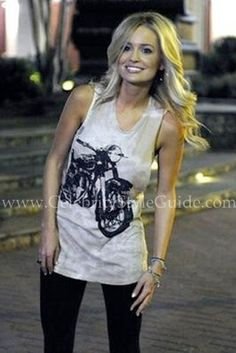 Emily Maynard's rocked this motorcycle tank which is the Urban Outfitters Truly Madly Deeply Motorbike Tank Top on the Bachelorette.