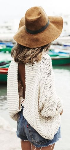 White Open Back Knit Loose Sweater by Collage Vintage