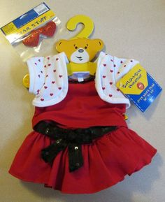 Build A Bear Clothes 3-piece Outfit with Heart Sweater Matching Heart Bows NWT