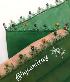 Top 41 Green Red Needle Lace ModelsYou can find Lace and more on our website. Embroidery Hoop Decor, Hand Embroidery Stitches, Beaded Embroidery, Embroidery Designs, Crochet Lace Edging, Love Crochet, Baby Knitting Patterns, Crochet Patterns, Crazy Quilt Stitches