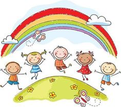 Illustration about Happy kids jumping with joy on a hill underneath a rainbow. Illustration of multinational, childs, drawing - 44631827 Drawing For Kids, Art For Kids, Daycare Logo, Kindergarten, School Murals, Cartoon Sketches, Free Vector Art, Happy Kids, Pre School