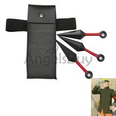 Naruto Boruto Cosplay Ninja Prop 3 Small Kunai and 1 Medium Pocket Bag - angelsbuy