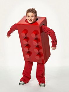 With a few cardboard boxes and some sprays of glossy paint, you can have a handmade Lego costume!