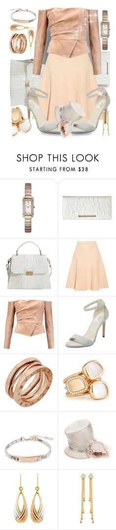 """In The Land Of Milk & Honey, Everything Is Peaches & Cream"" by sharee64 ❤ liked on Polyvore featuring Bulova, Brahmin, Jonathan Simkhai, Balmain, Elorie, Bulgari, Roberto Coin, Kenneth Cole, Philip Treacy and Tai"
